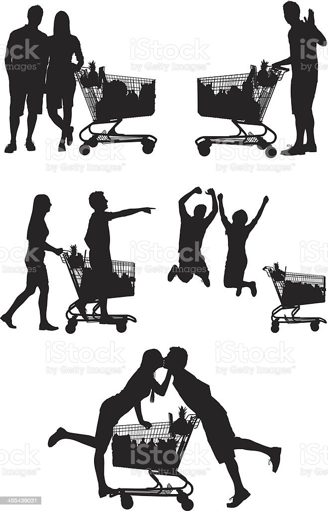 Multiple images of a couple shopping royalty-free stock vector art