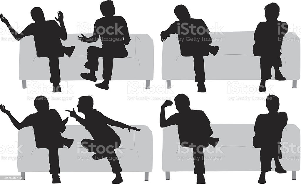 Multiple images of a couple sitting on couch vector art illustration