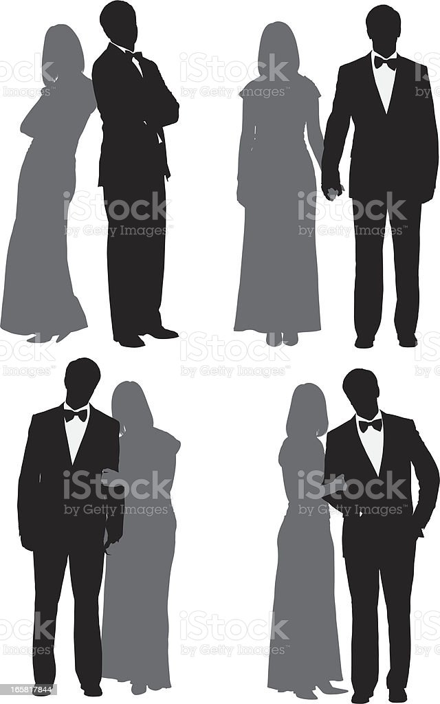 Multiple images of a couple vector art illustration
