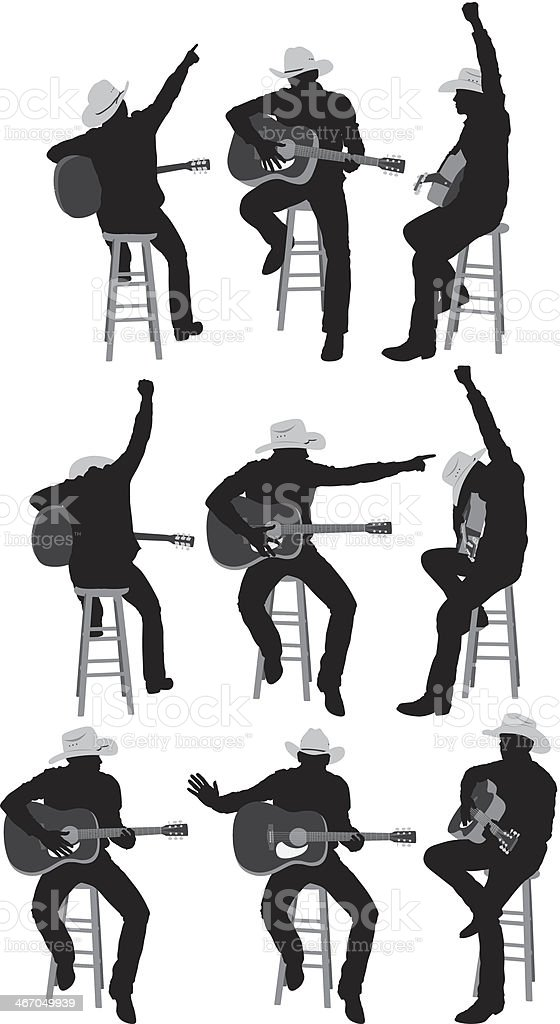 Multiple images of a cowboy playing guitar royalty-free stock vector art