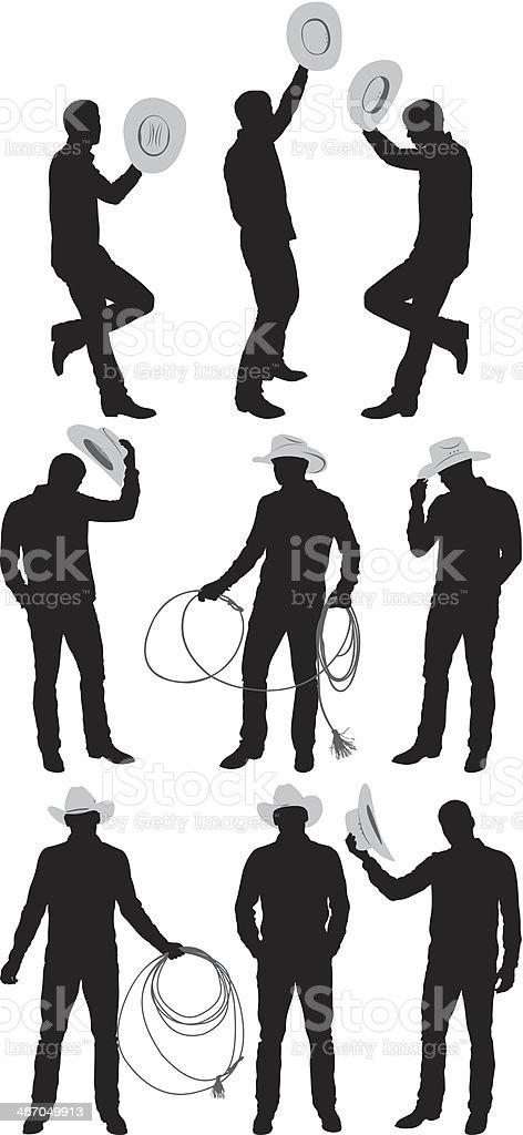 Multiple images of a cowboy royalty-free stock vector art