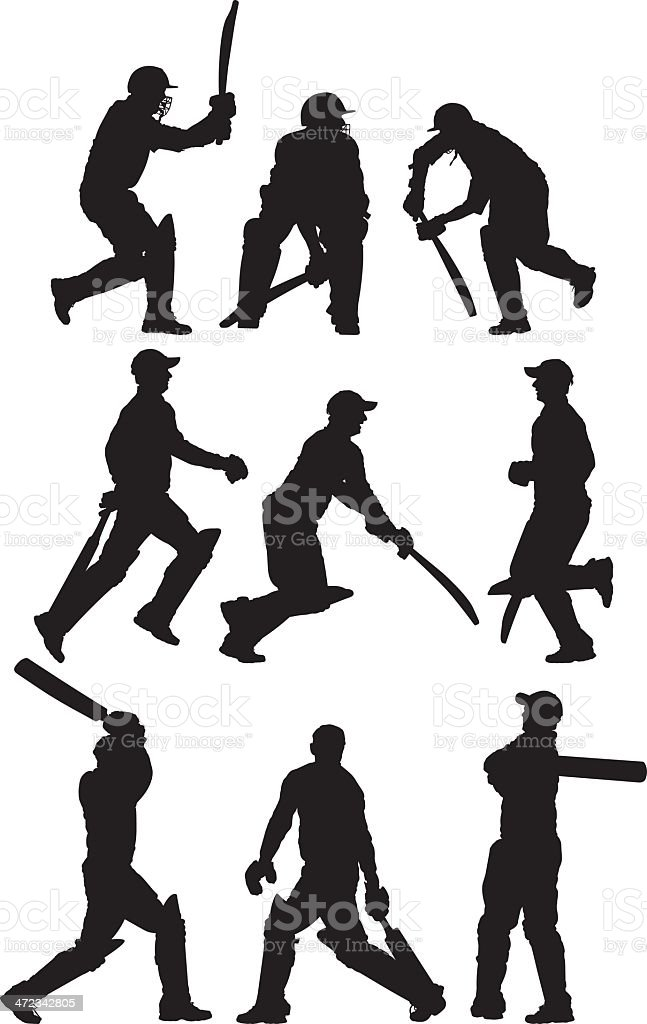 Multiple images of a cricket player vector art illustration