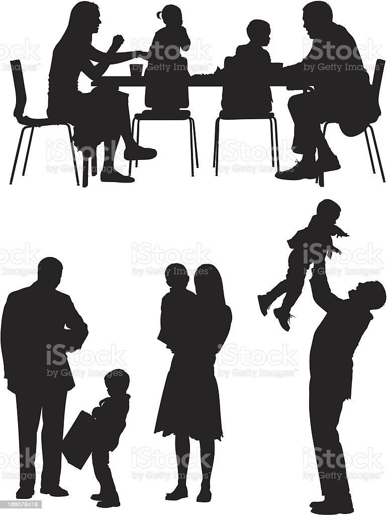 Multiple images of a family royalty-free stock vector art