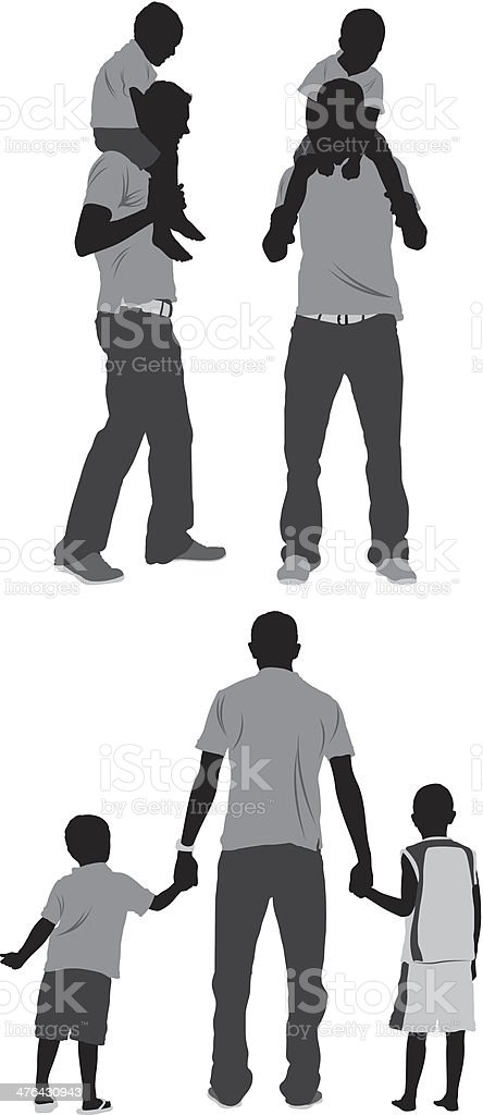 Multiple images of a family vector art illustration