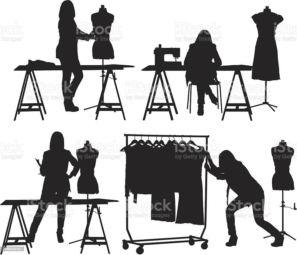 Multiple images of  a fashion designer at studio vector art illustration
