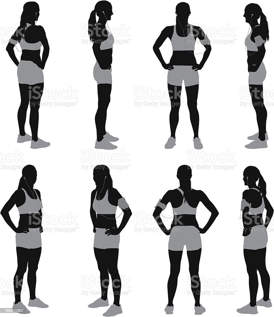 Multiple images of a female athlete vector art illustration