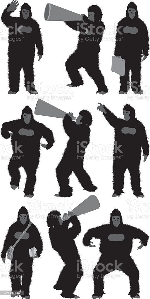 Multiple images of a gorilla royalty-free stock vector art