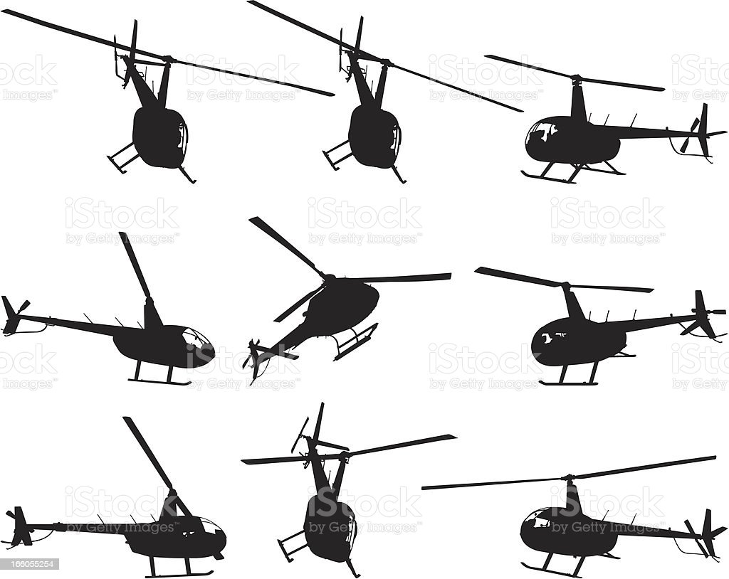 Multiple images of a helicopter royalty-free stock vector art