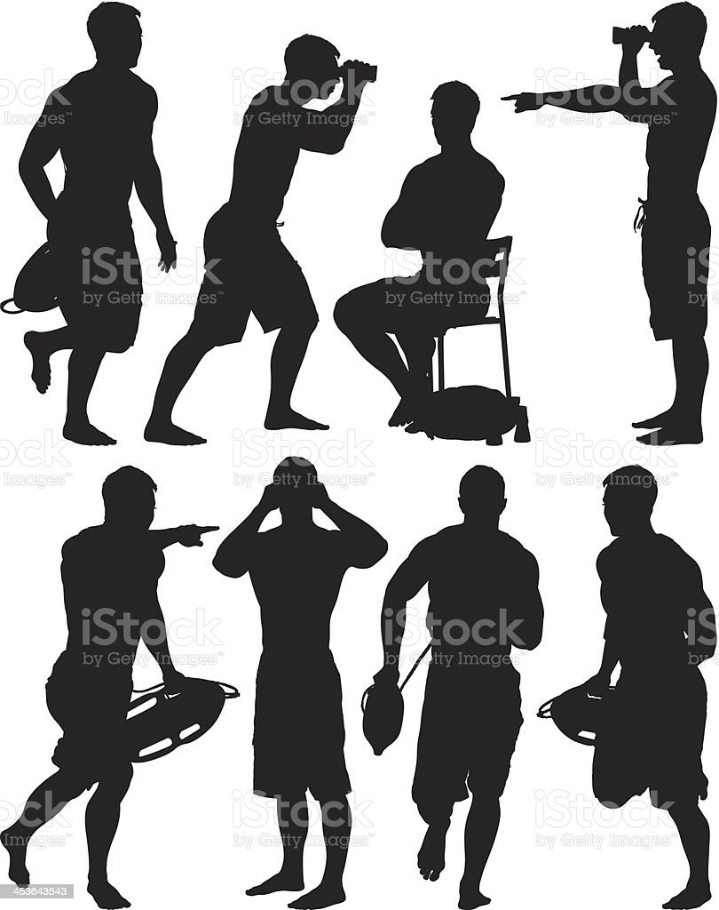 Multiple images of a lifeguard in different poses royalty-free stock vector art
