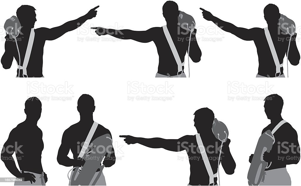 Multiple images of a lifeguard with float royalty-free stock vector art