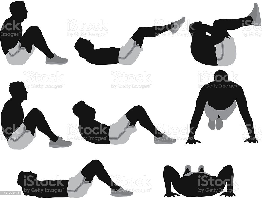 Multiple images of a male athlete exercising vector art illustration