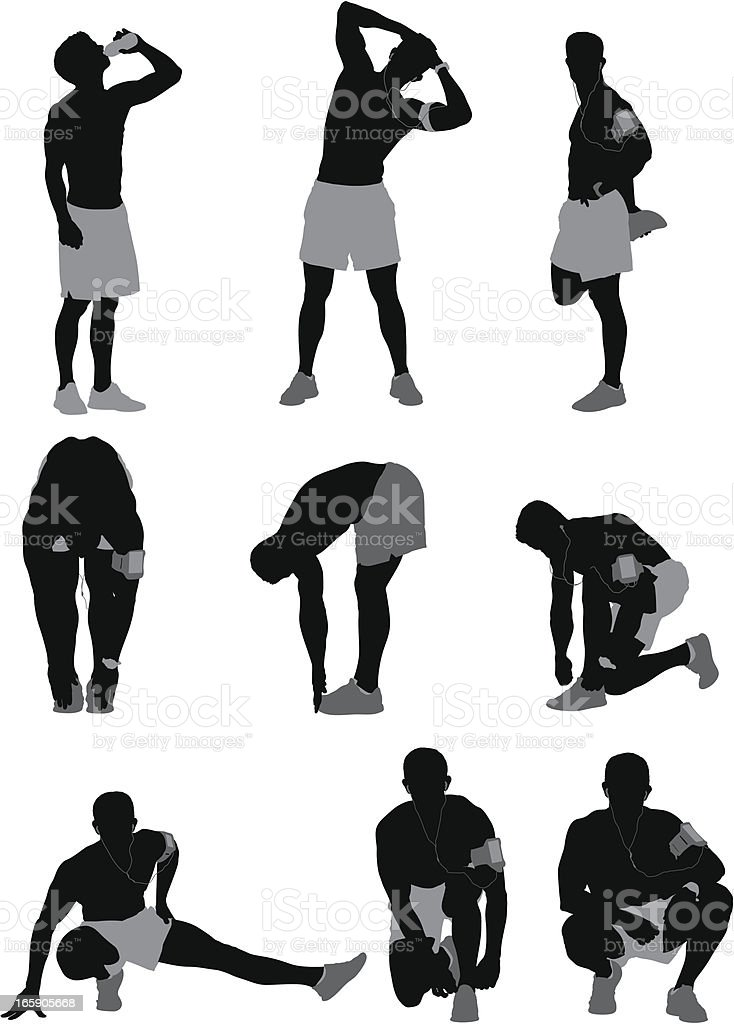 Multiple images of a male athlete royalty-free stock vector art
