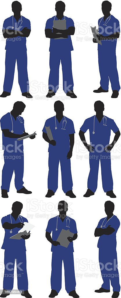 Multiple images of a male doctor royalty-free stock vector art