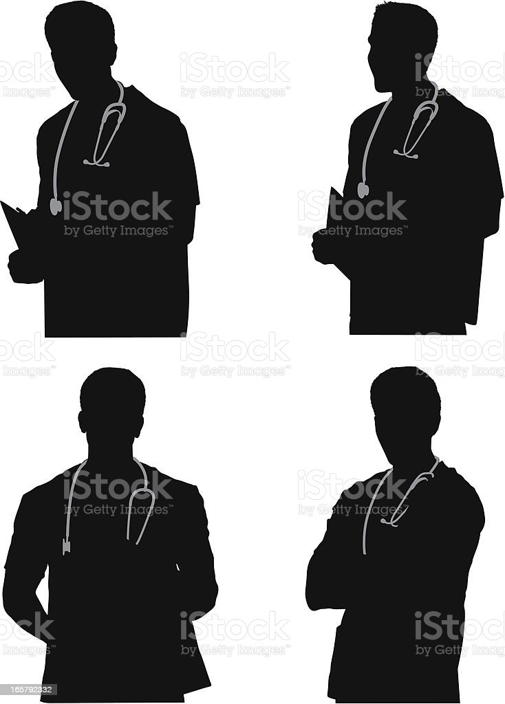 Multiple images of a male nurse royalty-free stock vector art