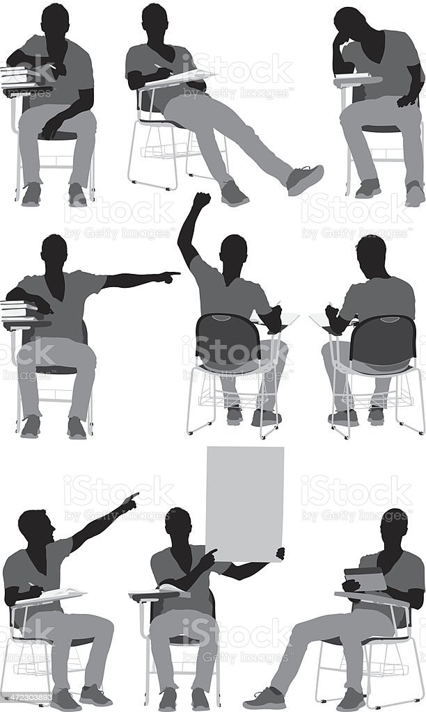 Multiple images of a male student in different poses royalty-free stock vector art