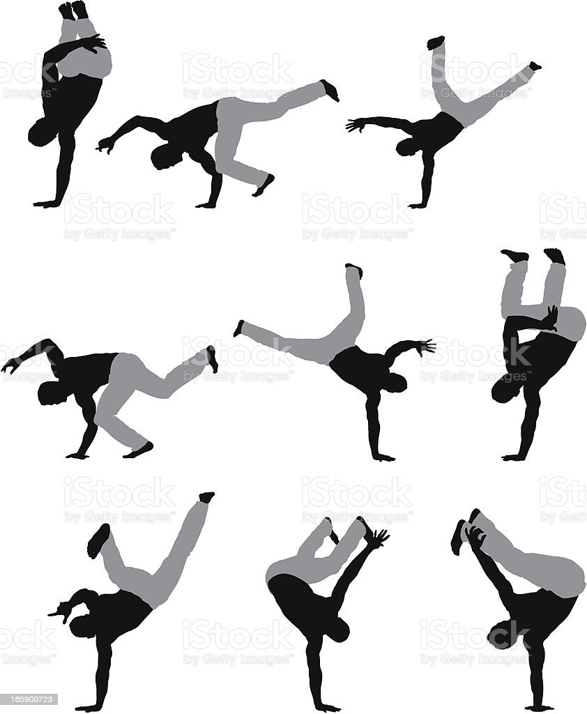 Multiple images of a man doing hand stand royalty-free stock vector art