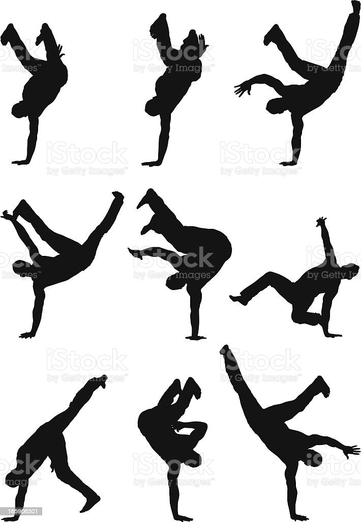 Multiple images of a man doing handstand royalty-free stock vector art