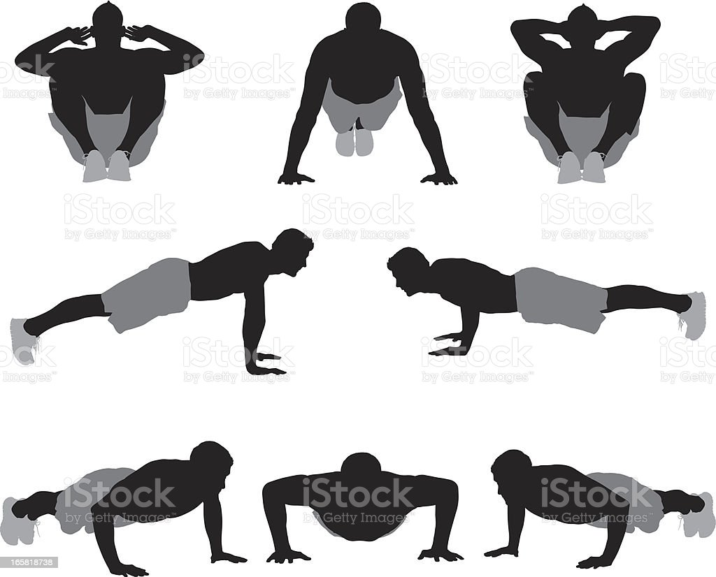 Multiple images of a man exercising vector art illustration