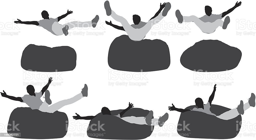 Multiple Images Of A Man Falling On Bean Bag stock vector art ...