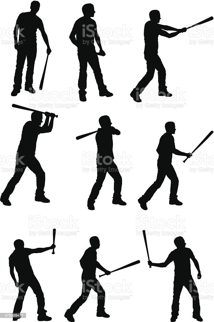 Multiple images of a man holding baseball bat royalty-free stock vector art