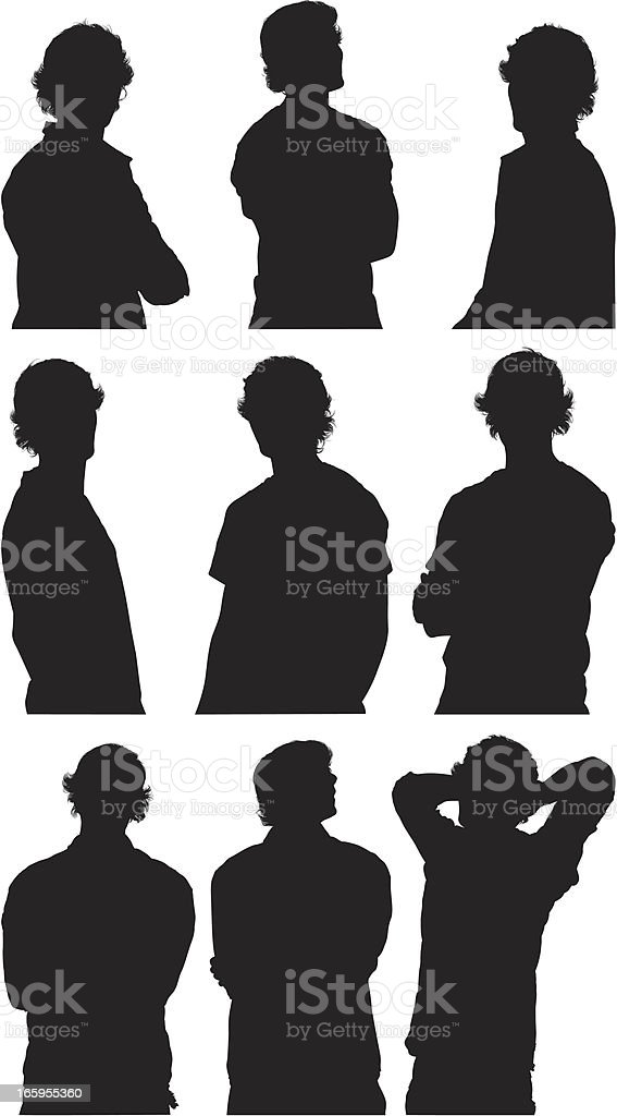 Multiple images of a man in different poses royalty-free stock vector art