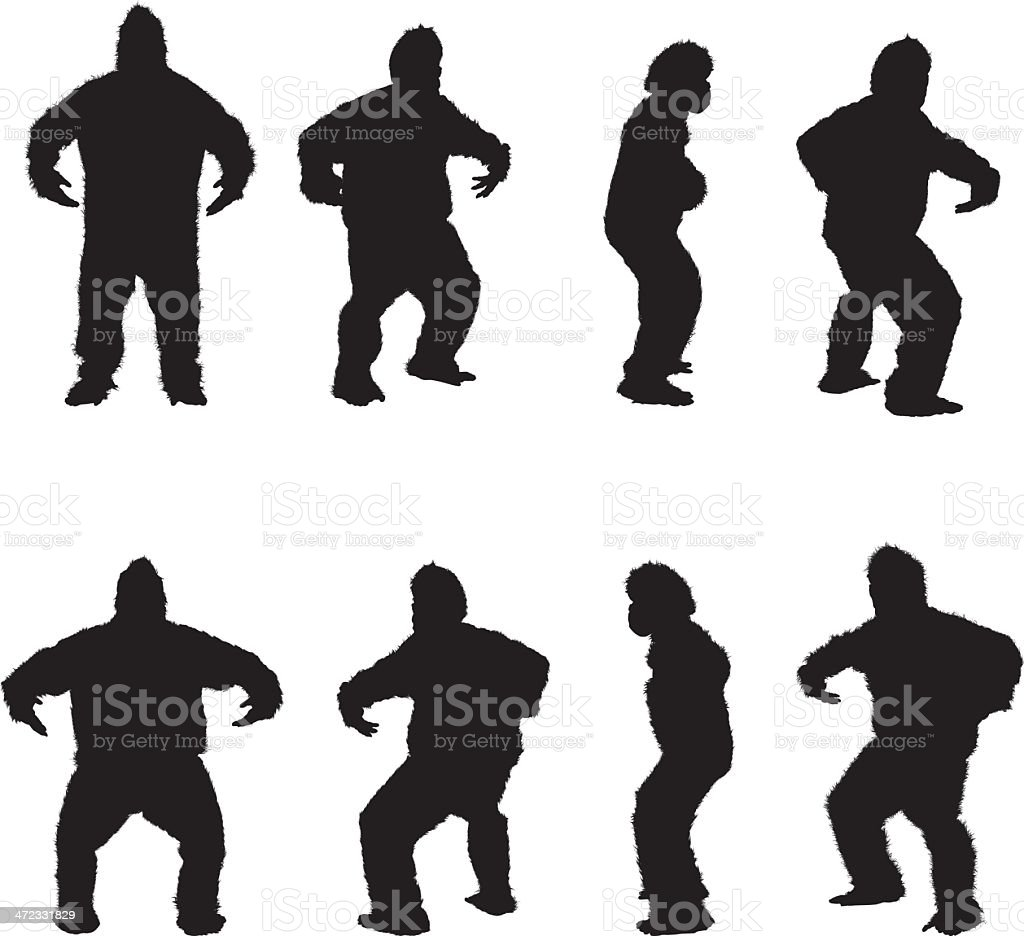 Multiple images of a man in gorilla costume vector art illustration