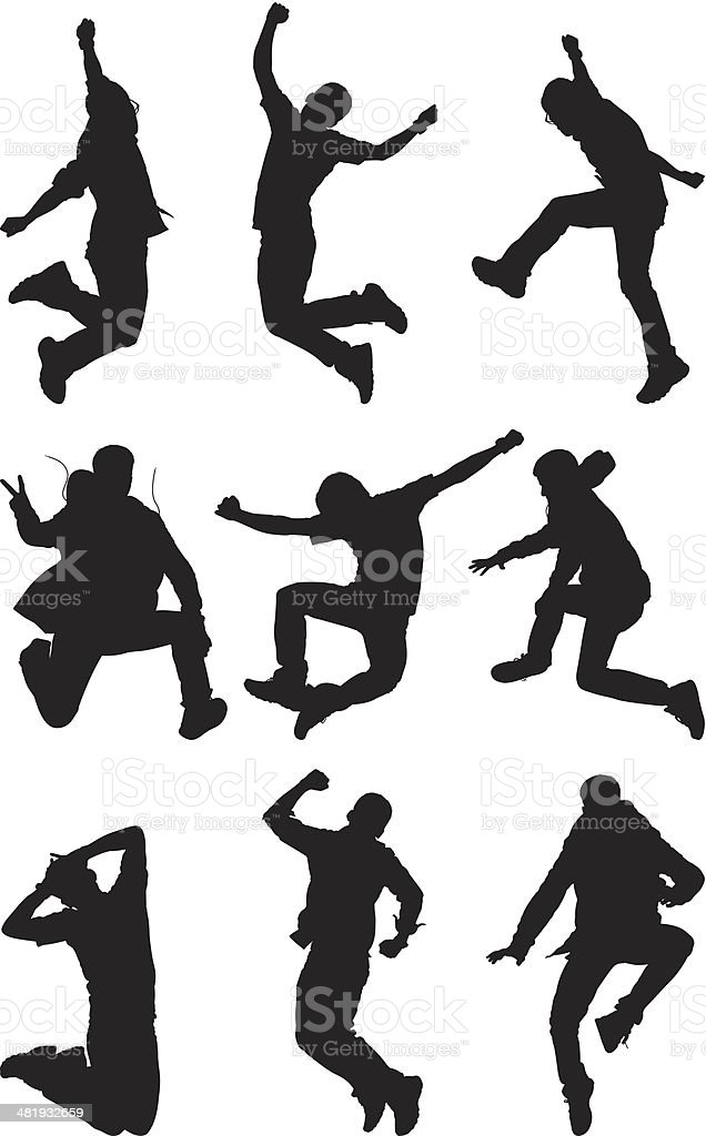 Multiple images of a man jumping vector art illustration