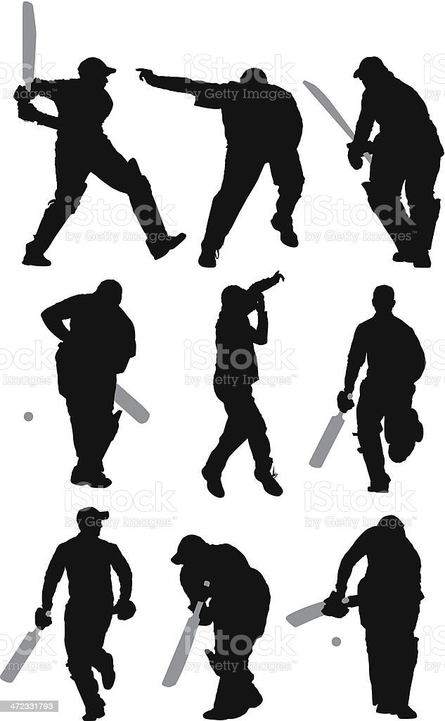 Multiple images of a man playing cricket royalty-free stock vector art