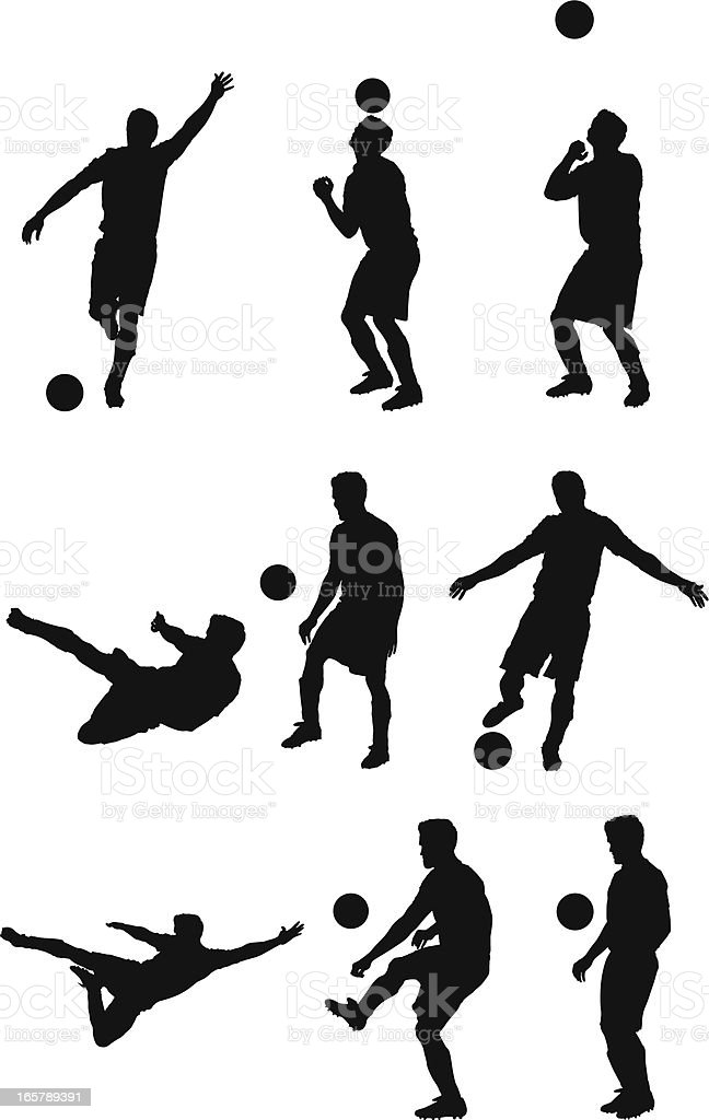 Multiple images of a man playing football royalty-free stock vector art