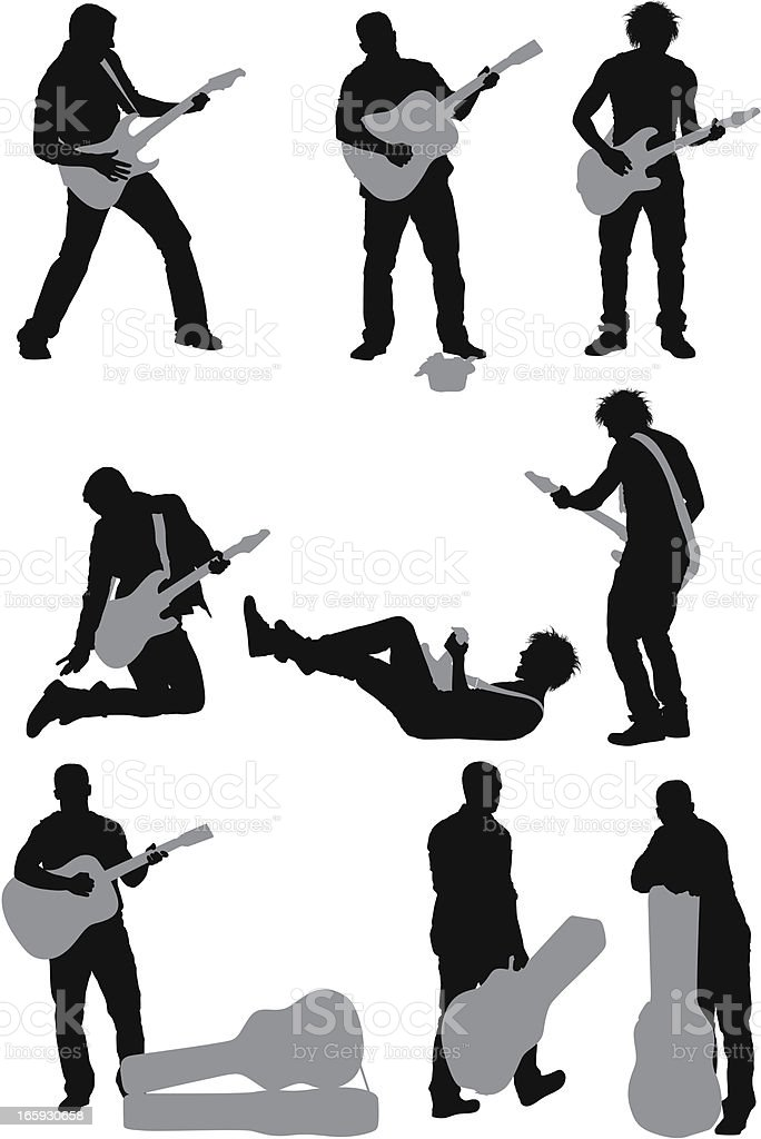 Multiple images of a man playing guitar vector art illustration