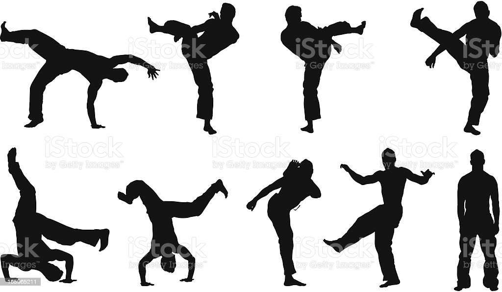Multiple images of a man practicing capoeira royalty-free stock vector art