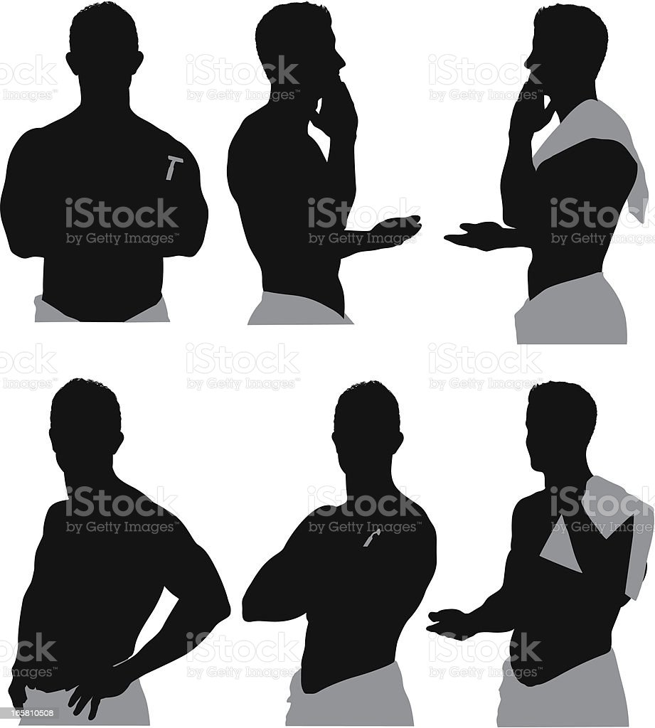 Multiple images of a man shaving royalty-free stock vector art
