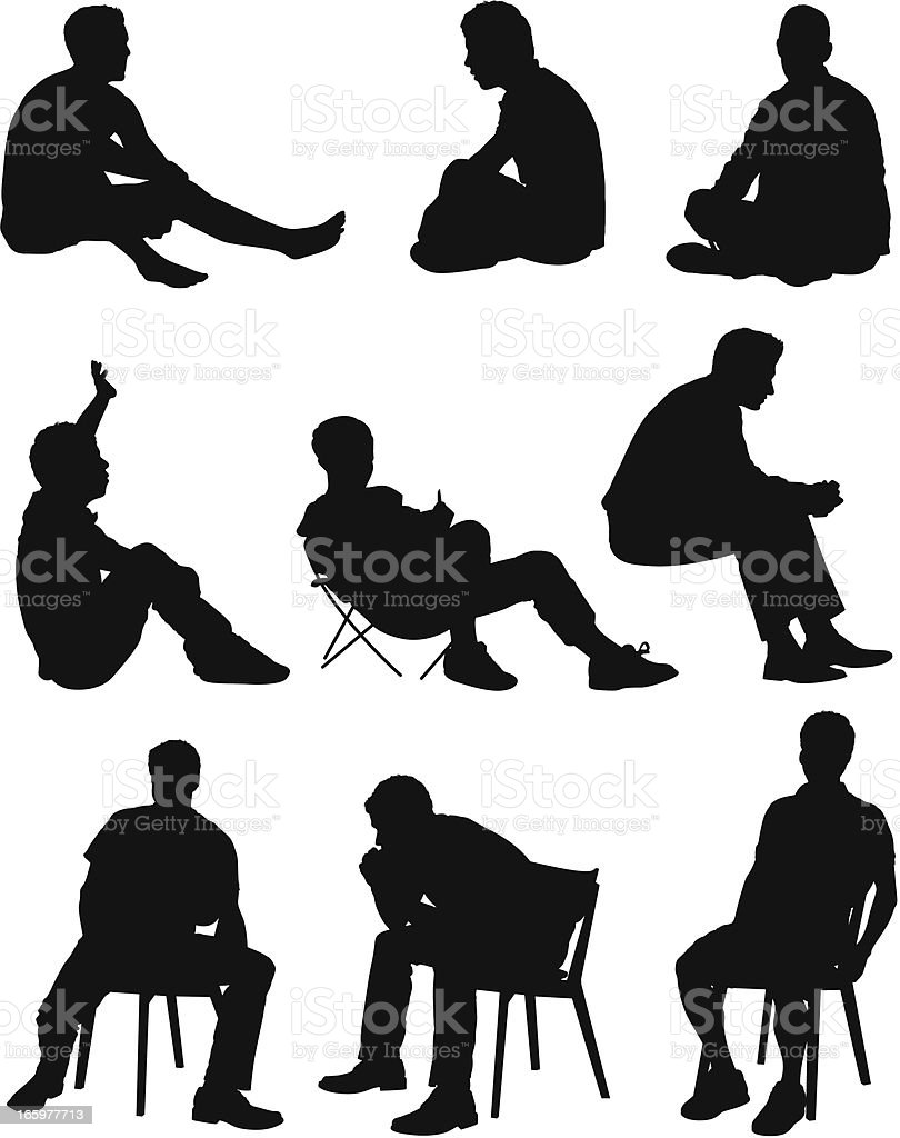 Multiple images of a man sitting vector art illustration
