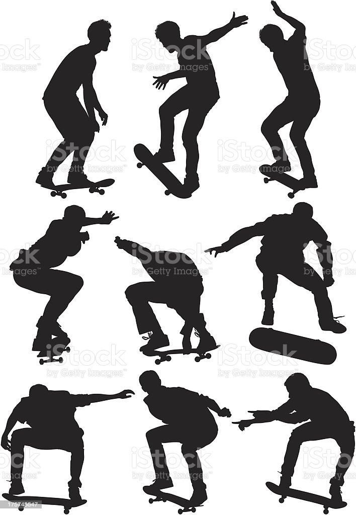 Multiple images of a man skating royalty-free stock vector art