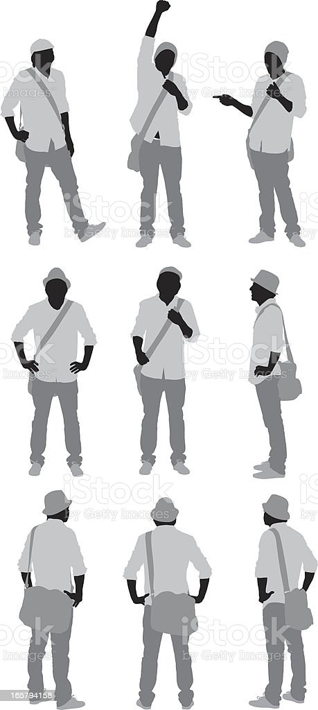 Multiple images of a man standing royalty-free stock vector art