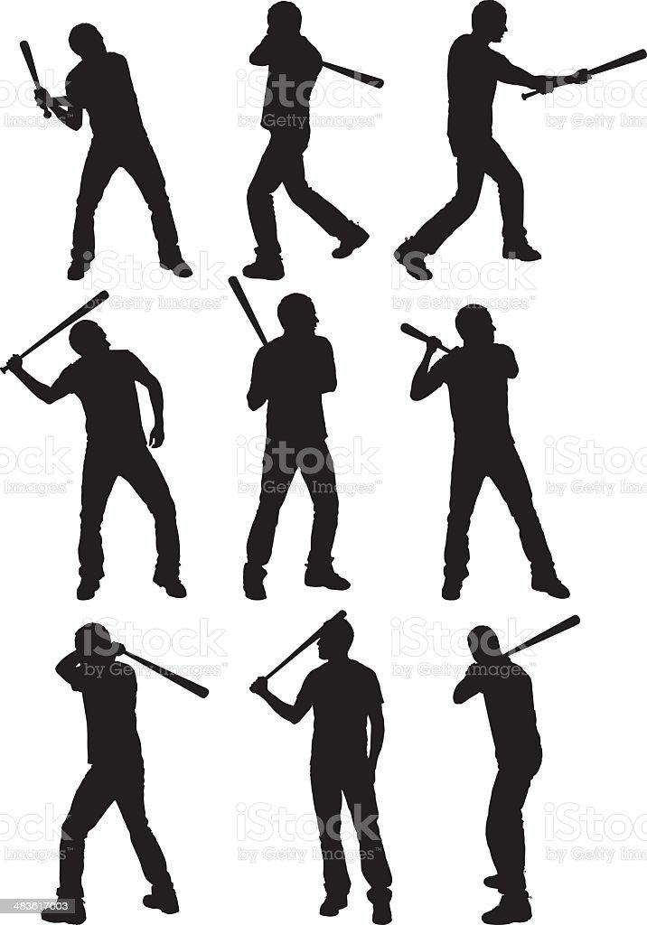 Multiple images of a man swinging baseball bat royalty-free stock vector art