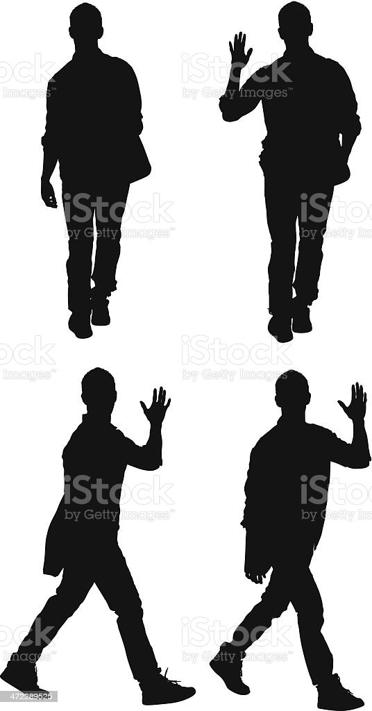 Multiple images of a man waving his hand royalty-free stock vector art