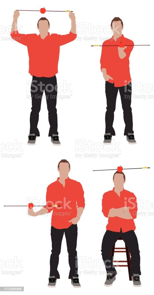 Multiple images of a man with arrow in apple royalty-free stock vector art