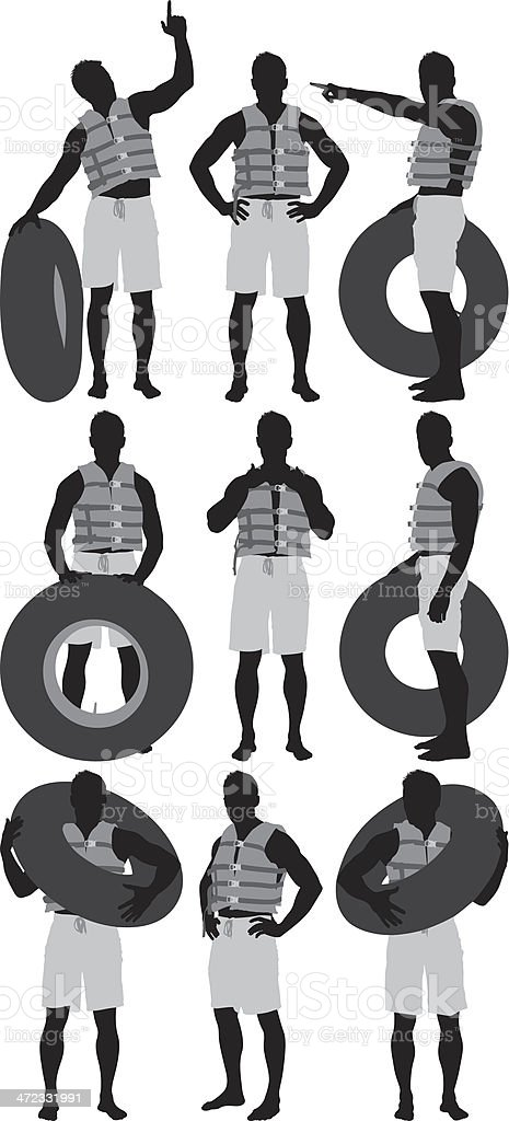 Multiple images of a man with inner tube vector art illustration