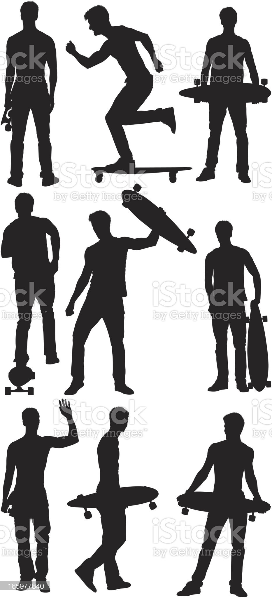 Multiple images of a man with longboard royalty-free stock vector art