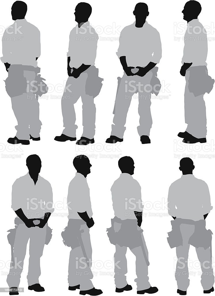 Multiple images of a manual worker vector art illustration