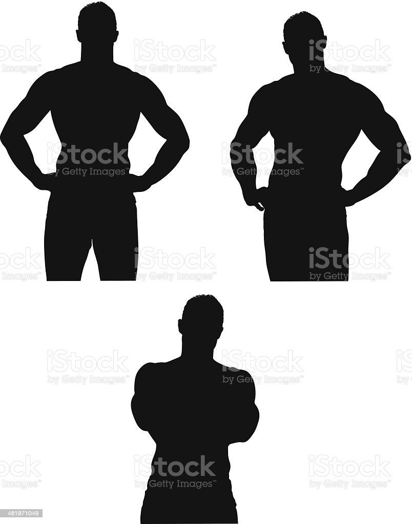 Multiple images of a muscular man vector art illustration
