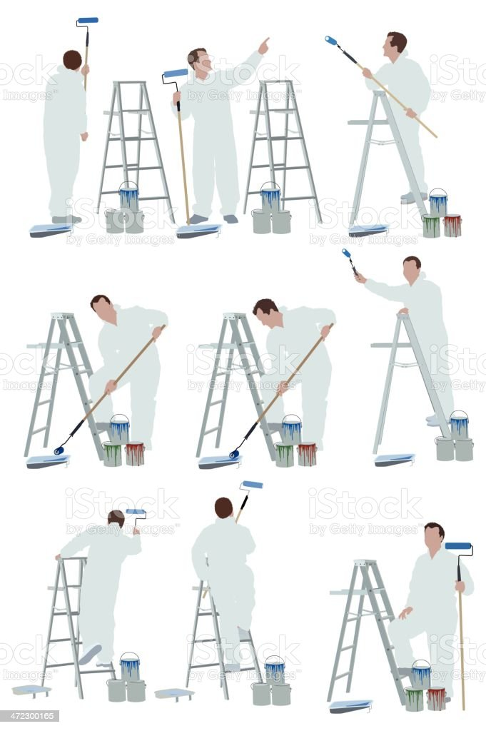 Multiple images of a painter royalty-free stock vector art