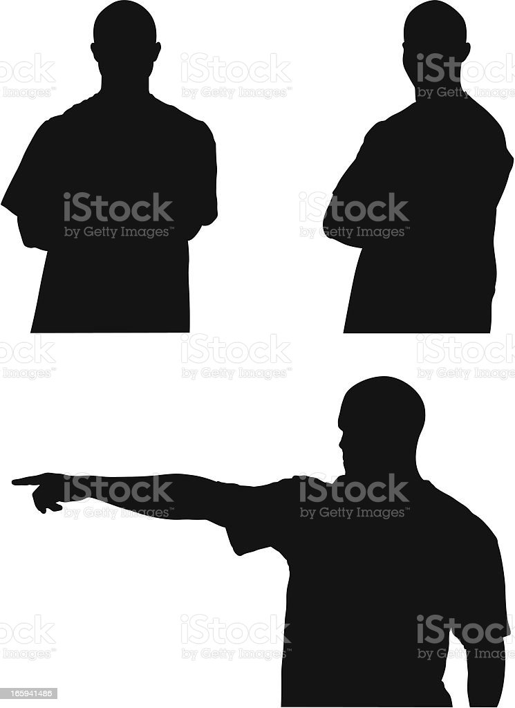 Multiple images of a security guard royalty-free stock vector art