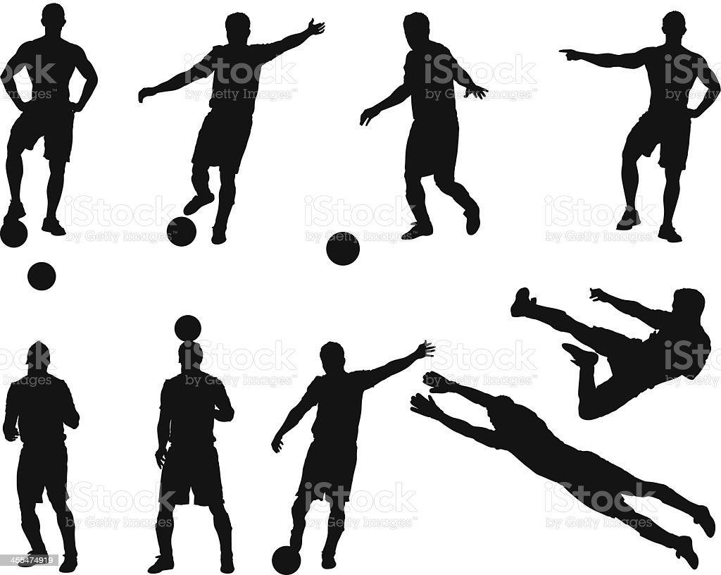 Multiple images of a soccer player royalty-free stock vector art