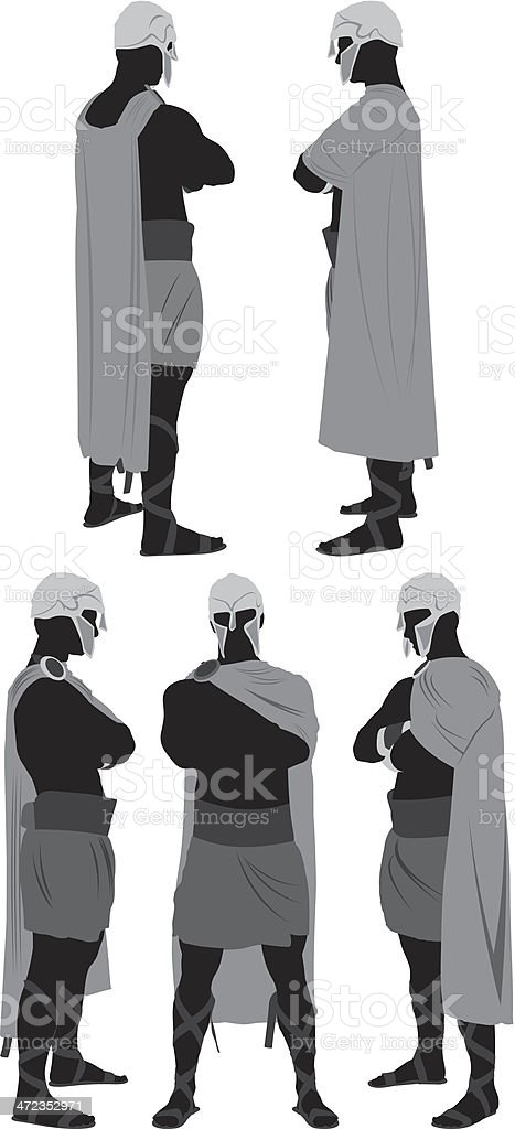 Multiple images of a spartan warrior royalty-free stock vector art