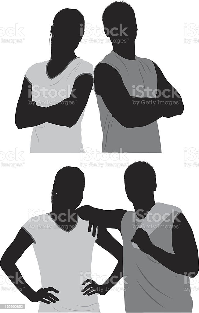 Multiple images of a sports couple vector art illustration