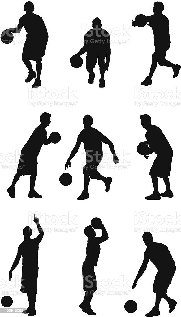Multiple images of a sportsman playing basketball royalty-free stock vector art