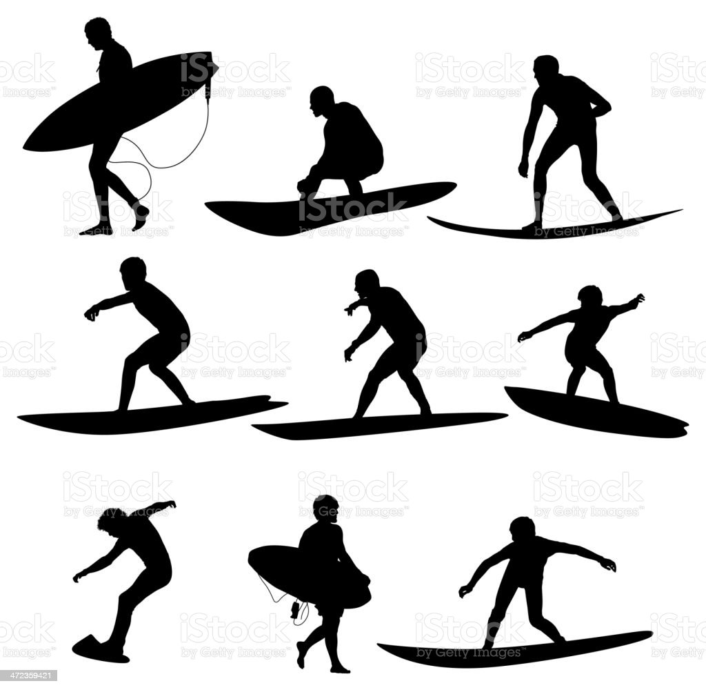 Multiple images of a surfer with surfboard royalty-free stock vector art