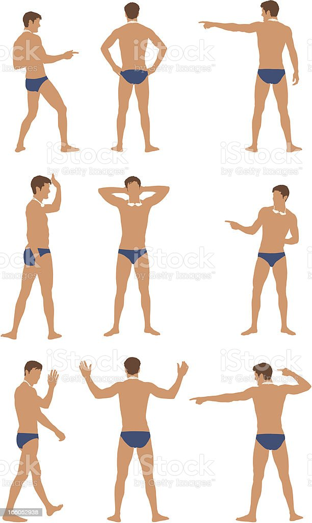 Multiple images of a swimmer vector art illustration